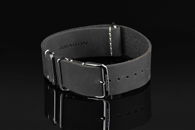 "Leather Nato Strap 22mm Fit up to 8"" Wrist"