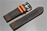 ARAGON 26mm Genuine Black Leather Strap